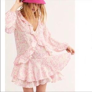 NWT Free People Rebecca Ruffle Dress Bubblegum XS